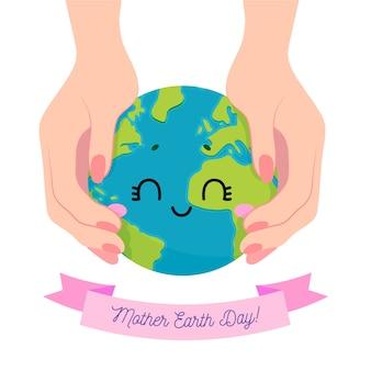 Ręcznie rysowane ręcznie dzień matki ziemi