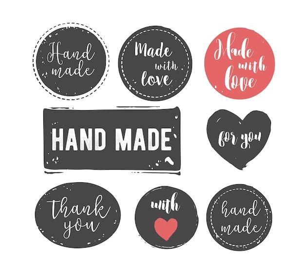 Ręcznie rysowane, ręcznie robione, ręcznie robione zestaw znaczków i abstrakcyjne kształty atramentu
