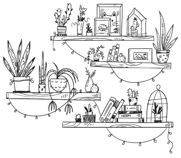 Ręcznie rysowane regały z książkami, roślinami doniczkowymi i małymi pamiątkami. przytulne miejsce?