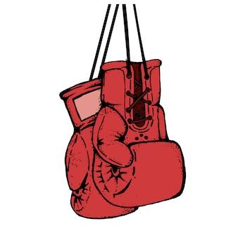 Ręcznie rysowane rękawice bokserskie na białym tle. element projektu plakatu, godła, nadruku na koszulce.
