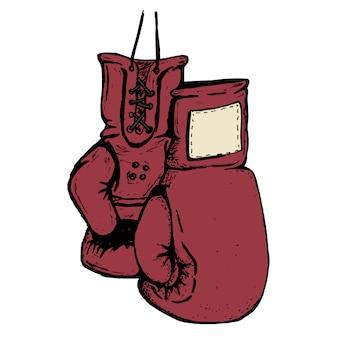 Ręcznie rysowane rękawice bokserskie na białym tle.