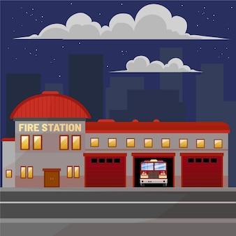 Ręcznie rysowane remiza strażacka