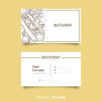 Ręcznie rysowane restauracja wizytówki szablon