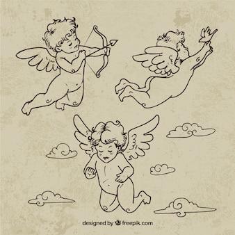 Ręcznie rysowane retro aniołki