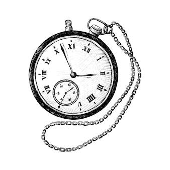 Ręcznie rysowane retro zegarek kieszonkowy