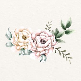 Ręcznie rysowane rocznika bukiet kwiatów