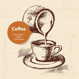 Ręcznie rysowane rocznika kawy tło