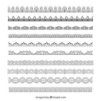 Ręcznie rysowane rocznika koronki granice w desing