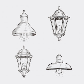 Ręcznie rysowane rocznika lampy uliczne