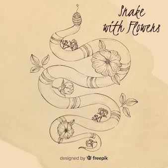 Ręcznie rysowane rocznika wąż z kwiatami w tle
