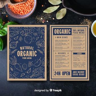Ręcznie rysowane rocznika zdrowe menu szablon