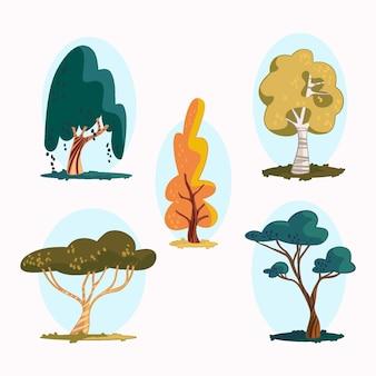 Ręcznie rysowane rodzaje drzew