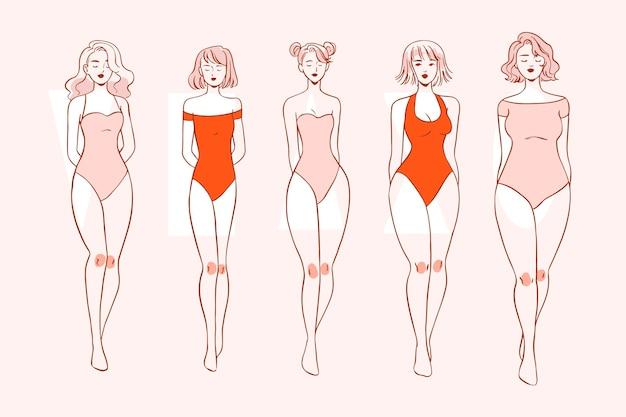 Ręcznie rysowane rodzaje kształtów kobiecego ciała