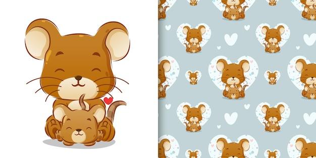 Ręcznie rysowane rodzeństwo myszy siedzącej razem z małą miłością obok nich ilustracji