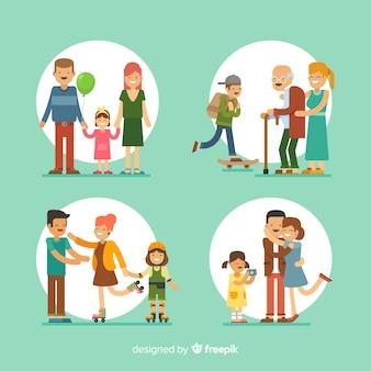 Ręcznie rysowane rodzinne sytuacje na świeżym powietrzu