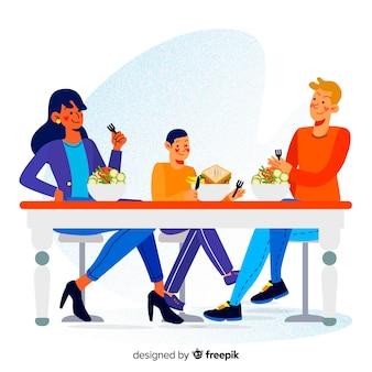 Ręcznie rysowane rodziny jedzenie razem scena