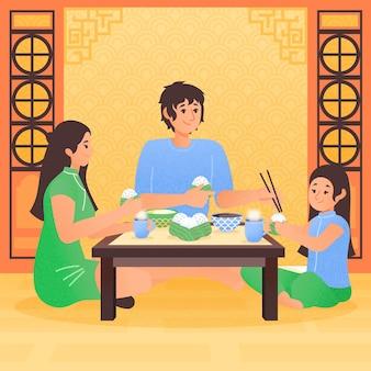 Ręcznie rysowane rodziny jedzenie zongzi