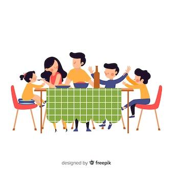 Ręcznie rysowane rodziny siedzi wokół ilustracji tabeli