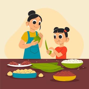 Ręcznie rysowane rodziny smoczych łodzi przygotowanie i jedzenie ilustracji zongzi