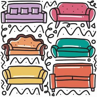Ręcznie rysowane rodziny sofa doodle zestaw z ikonami i elementami projektu