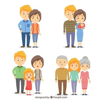 Ręcznie rysowane rodziny w różnych etapach życia