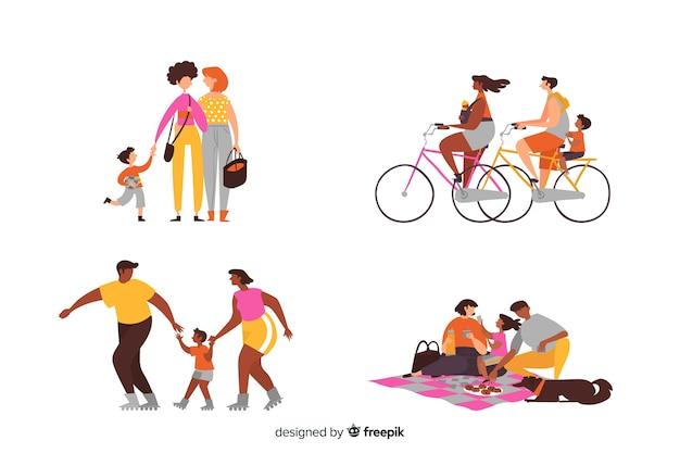 Ręcznie rysowane rodziny wykonujące czynności na zewnątrz