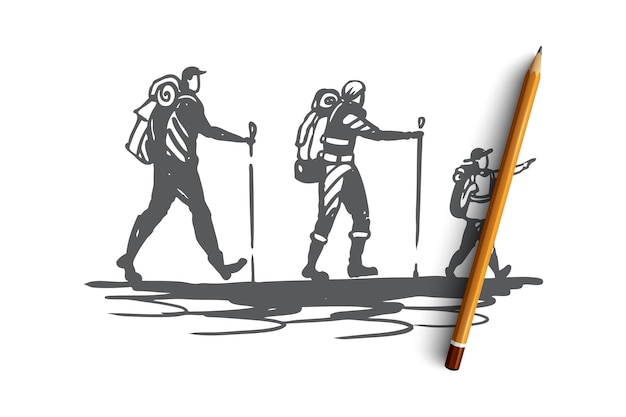 Ręcznie rysowane rodziny z dzieckiem podróżującym w górach z szkic koncepcji plecaki