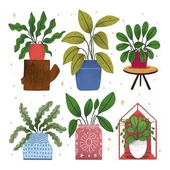 Ręcznie rysowane rośliny doniczkowe w kolekcji doniczek