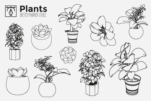 Ręcznie rysowane rośliny. zestaw widoków roślin na białym tle. rysunki efektów markera. edytowalne kolorowe sylwetki. premium.
