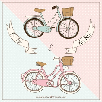 Ręcznie rysowane rowery dla niej i dla niego tło