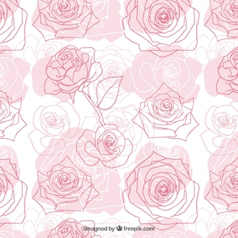 Ręcznie rysowane róż wzór