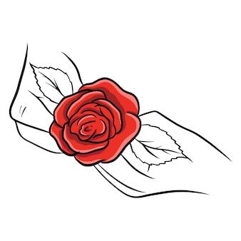 Ręcznie rysowane róże. piękny kwiat. styl kreskówki. ilustracja wektorowa. do projektowania i dekoracji.