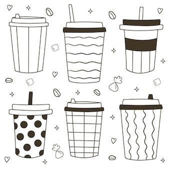 Ręcznie rysowane różne kubki do kawy. plastikowe i papierowe kubki do kawy. kawa na wynos