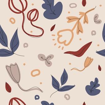 Ręcznie rysowane różne kwiaty i obiekty doodle. współczesny wzór bez szwu.
