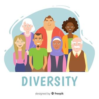 Ręcznie rysowane różnorodność koncepcja tło