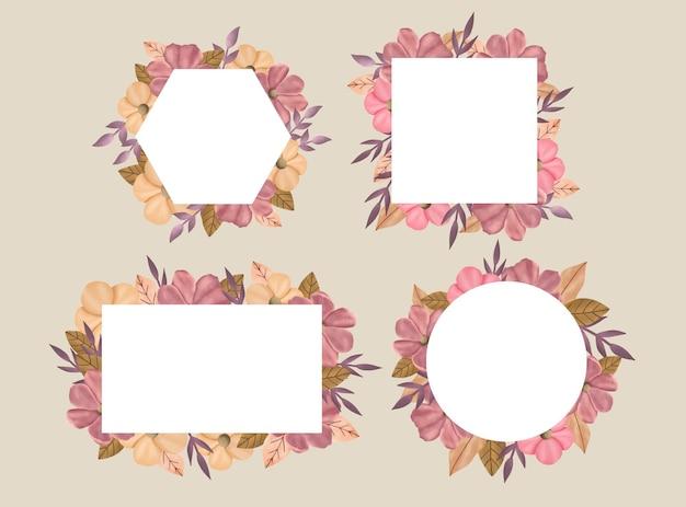 Ręcznie rysowane różowe kwiaty i liść rama wektor zbiory edytowalne