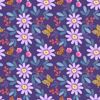 Ręcznie rysowane różowe kwiaty w fioletowy wzór.
