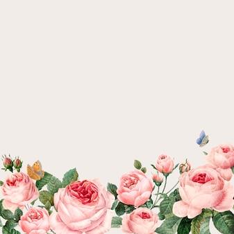 Ręcznie rysowane różowe róże ramki na beżowym tle wektor