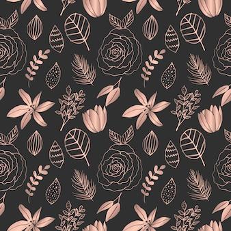 Ręcznie rysowane różowego złota kwiatowy wzór