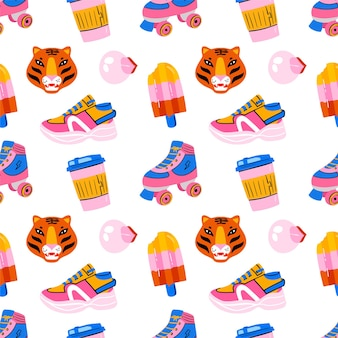 Ręcznie rysowane różowy i niebieski wzór z rolką, lodami, kawą, tygrysem w stylu 80-x 90-xx