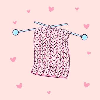 Ręcznie rysowane różowy próbki dziewiarskich z niebieskimi igłami. ręcznie robione ubrania ilustracji wektorowych