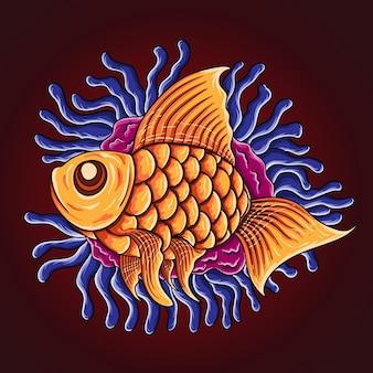 Ręcznie rysowane ryby na białym tle