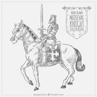 Ręcznie rysowane rycerz z ramy i konia