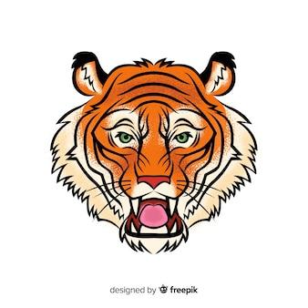 Ręcznie rysowane ryk tygrysa tło