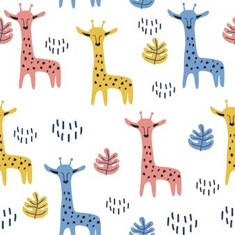 Ręcznie rysowane rysunek skandynawski ładny żyrafa