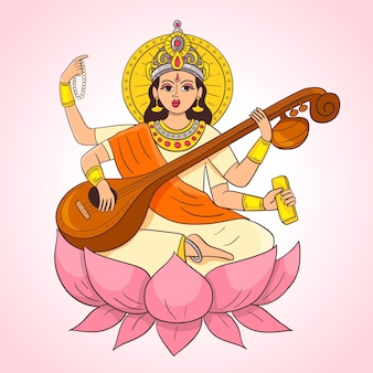 Ręcznie rysowane saraswati gra na instrumencie muzycznym