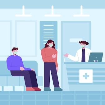 Ręcznie rysowane sceny recepcji szpitala z ludźmi noszącymi maski medyczne