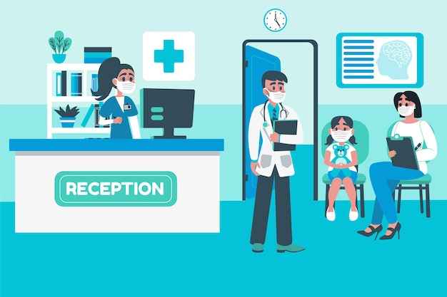 Ręcznie rysowane sceny recepcji szpitala z ludźmi noszącymi maski na twarz