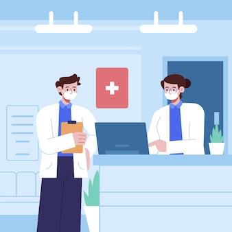 Ręcznie rysowane sceny recepcji szpitala