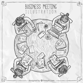 Ręcznie rysowane sceny spotkanie biznesowe